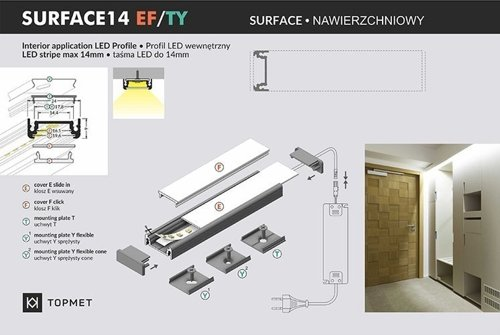 Profil LED SURFACE14 EF/TY 2000 anod.