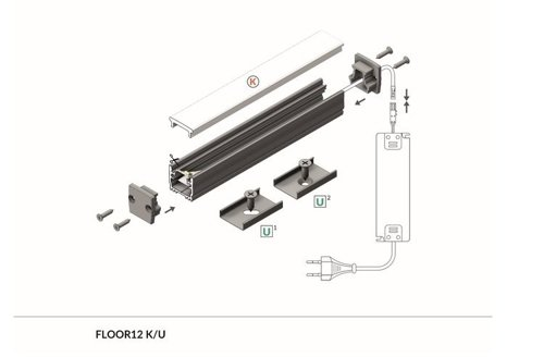 Profil LED FLOOR12 K/U 1000 anod.